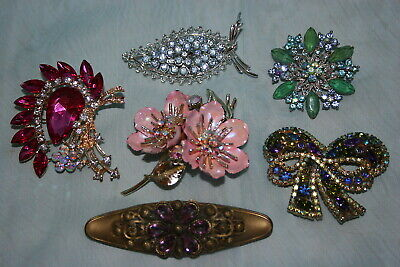 $ CDN29.99 • Buy Lovely Lot Of 6 Vintage/Contemp Brooches- 3 Coro - Flower, Leaf, Bow