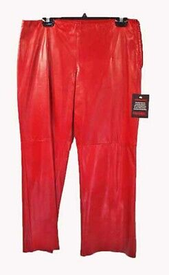 $ CDN387.10 • Buy Pants, Soft Polished Lamb Leather, Red Size 12, Original Tags On, Stretch Lining
