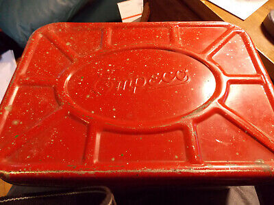 Vintage EMPECO Metal Tin Picking Scene- Vented Bread Box Red/Tan Color • 5$