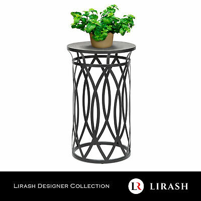 AU185 • Buy Round Corner Side Table With Cross Designer Legs Engraved Black Gold Finish Top