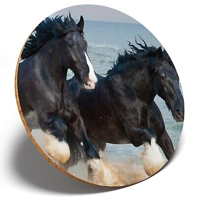 1 X Shire Horses Animal Ocean - Round Coaster Kitchen Student Kids Gift #12681 • 3.49£
