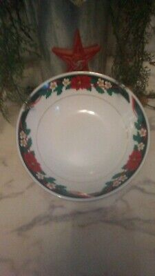 $19.99 • Buy Tienshan Poinsettia Deck The Halls 9 3/8 Inch Serving Bowl Free Shipping Vintage