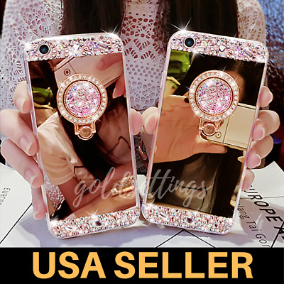 AU10.43 • Buy Mirror Phone Case With Ring Holder Stand Cover For Women Girls Iphone X 7 8 Plus