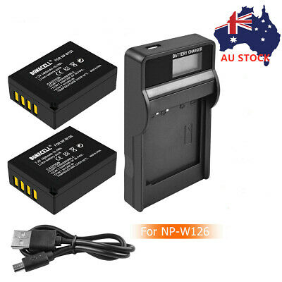 AU21.99 • Buy 2PC NP-W126 NP-W126S Battery + LCD Charger For Fujifilm X-M1 X-A1 X-T1 XE1 X100F