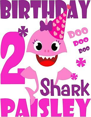 $9.95 • Buy Doo Doo Baby Shark Custom Birthday T Shirt Gift Personalizing Name And Age