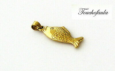 14k Yellow Gold Fish Charm Pendant 1.1 Grams High Polished. • 67$