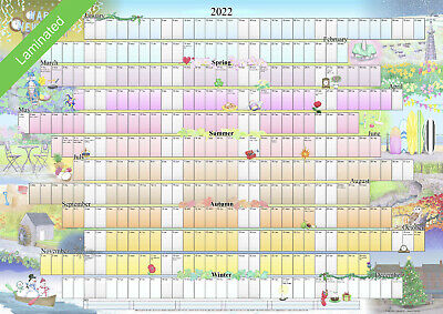 £9.99 • Buy Illustrated Wall Planner - 2021 Laminated (A2 Size) Calendar Poster Organiser