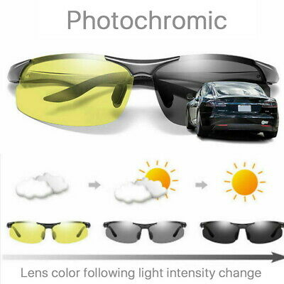 AU12.45 • Buy Men's Photochromic Polarized Sunglasses Day And Night Driving Sports Glasses