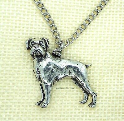 Boxer Dog Pendant With Chain Necklace In Gift Pouch (Pewter, Made In UK) • 6.95£