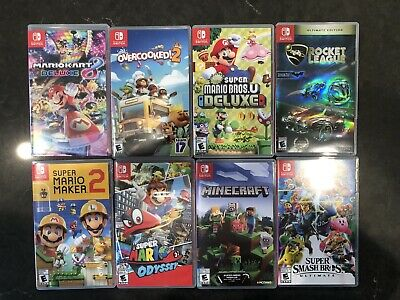 $40 • Buy EMPTY Nintendo Switch Cases (NO GAMES INCLUDED) Lot Of 8 Mario Super Kart Smash