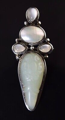 $79.99 • Buy Sajen Carved Soapstone Mop & Moonstone Sterling Silver Pendant/pin 925 #350