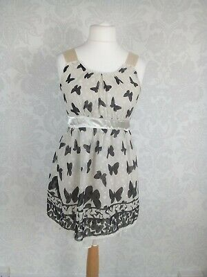 Yumi Size 10 Sheer Lined Butterfly Print Petticoat A-Line Dress #e5 • 12.99£