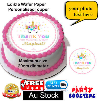 AU7.50 • Buy Rainbow Unicorn Gold Horn Edible Cake Topper Image PERSONALISED Wafer Paper