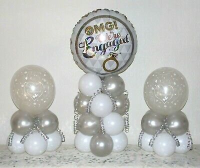 ENGAGEMENT - 3 Pack Party Set - Table Balloon Decoration Display Kit -No Helium • 9.99£