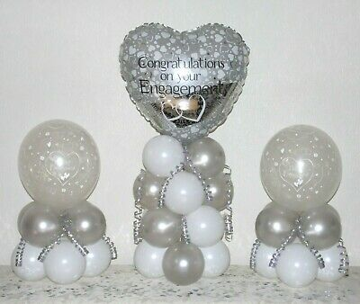 ENGAGEMENT - 3 Pack Party Set - Table Balloon Decoration Display Kit -No Helium • 4.99£
