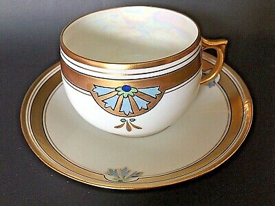 $14.95 • Buy German J & C Bavaria Hand Painted Heavy Gold TrimTea Cup And Saucer - Excellent