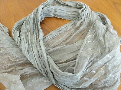 Gorgeous Taupe Crinkly Organza Iridescent Long Shawl Scarf Evening Wrap Sequins • 8.99£