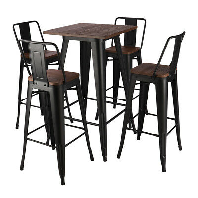 £169.95 • Buy Tall Industrial Black/Wood Top Bar Stool Table Indoor Outdoor Cafe Bistro Chairs