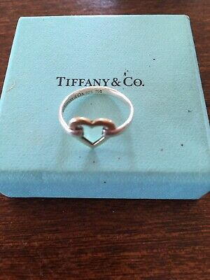 Tiffany & Co Silver & 18K Yellow Gold Heart Ring Size Approx 6 1/2 UK • 185£