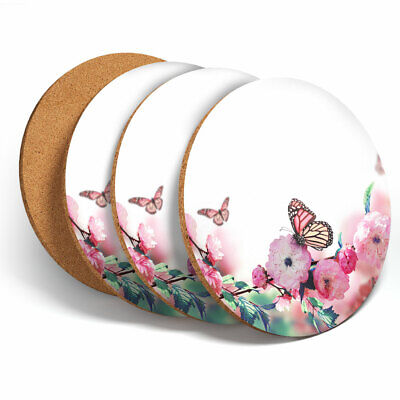 £7.99 • Buy 4 Set - Pink Flowers Butterfly Cute Coasters - Kitchen Drinks Coaster Gift #2420