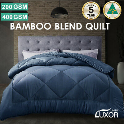 AU47.80 • Buy Aus Made All Size Microfibre Bamboo Winter Summer Quilt Duvet Doona Blue