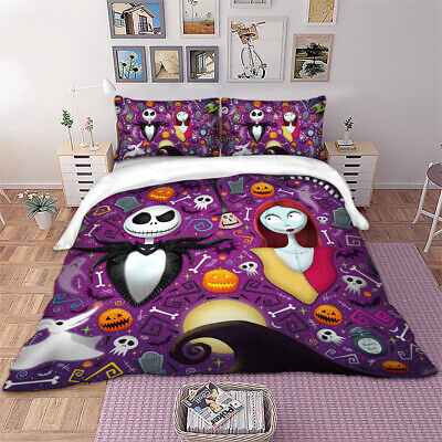 3D Skull Duvet Cover The Nightmare Before Christmas Bedding Set Pillow Cases New • 20.45£
