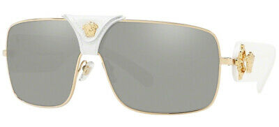 AU299.95 • Buy NEW VERSACE SQUARED BAROQUE White Gold Grey Mirror Sunglasses VE 2207Q 10026G