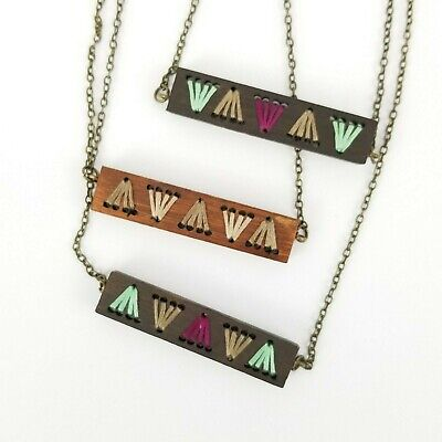 £10.90 • Buy Wood Bar Woven Short Necklace Colorful Neutral Brown Boho Indie Festival Jewelry