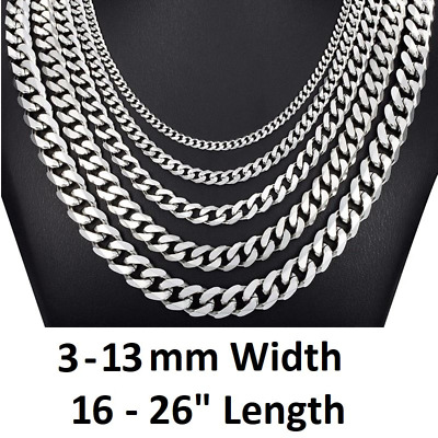 *UK Shop* STAINLESS STEEL 316L SILVER 3-11MM 16-26  MENS CURB CHAIN NECKLACE MAN • 4.79£