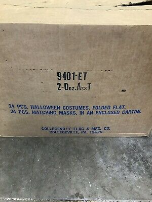 $400 • Buy Vintage Collegeville Case Of (24) E.T. Halloween Mask And Outfit With Box