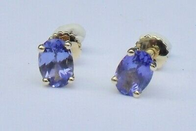 £325 • Buy Iliana 18ct Gold Oval Cut Solitaire Tanzanite Stud Earrings Yellow Gold