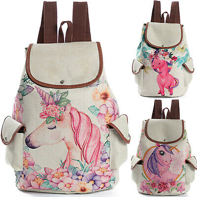 $22.29 • Buy Womens Unicorn Print Linen Backpack For Girls School Shoulder Bag Travel Bagpack