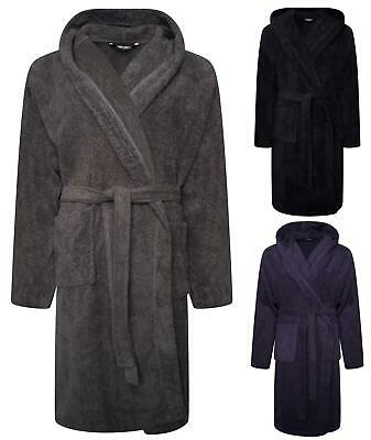 Bath Robe Mens Hooded Towelling Dressing Gown 100% Cotton Gowns Robes  • 15.99£