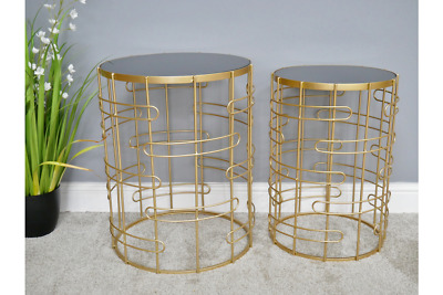 Gold Glass Metal Nest Set Of 2 Round Side End Lamp Coffee Tables (dx6463) • 135£