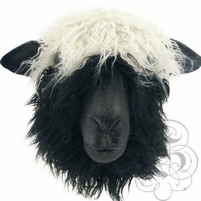 Latex Animal Mask Head Sheep With Fur Cosplay Fancy Dress Novelty Masquerade   • 29.99£