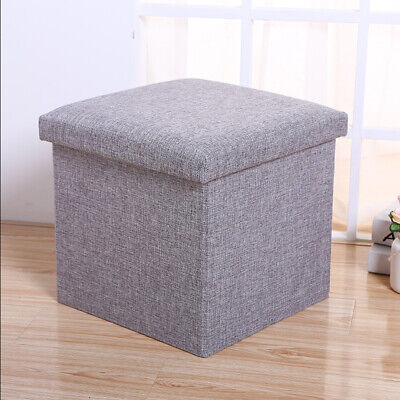 Small Seat Storage Ottoman Folding Pouffee Foot Stool Cubed Toys Box For Bedroom • 8.99£
