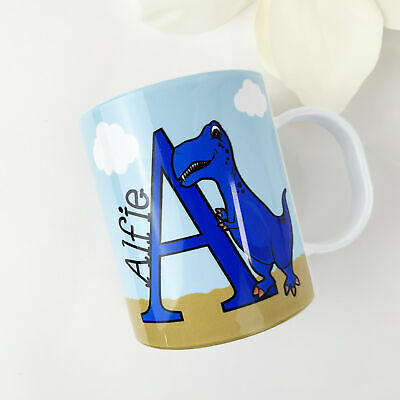 Personalised Alpha Dino Blue Plastic Mug Children's Birthday Gift Juice Cup  • 10.99£