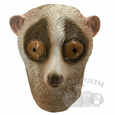 Latex Animal Mask Loris Monkey Head Cosplay Fancy Dress Novelty Masquerade Party • 16.99£