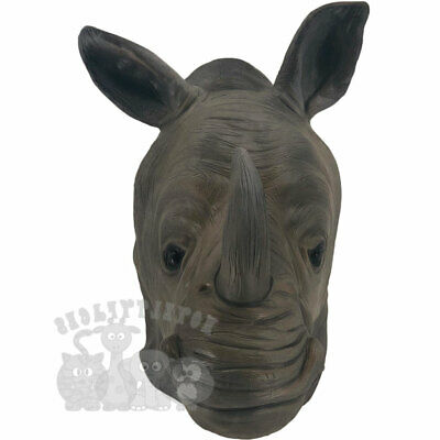 Latex Animal Mask Safari Rhino Head Cosplay Fancy Dress Novelty Masquerade Party • 16.99£