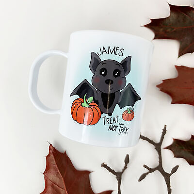 Personalised Bat Plastic Mug Children's Birthday Gift Juice Cup Any Name • 10.99£