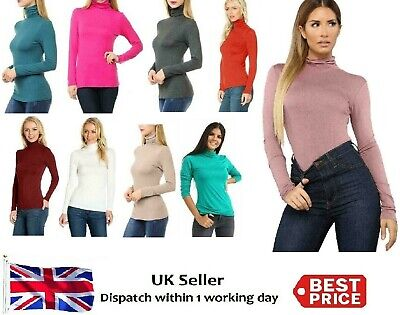 Ladies Womens Polo Neck Turtle Roll High Neck Jumper Party Tops Size 8-24 • 2.49£
