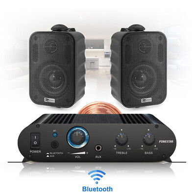 Wall Mount Speakers And Stereo Amplifier Home Hifi Music System With Bluetooth • 91.99£