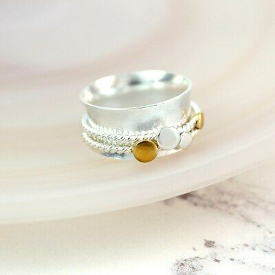 925 Sterling Silver Spinning Ring With Brass Circle Detail Thumb Fidget  • 25£