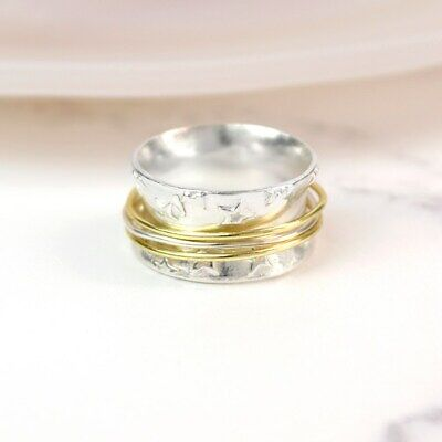 925 Sterling Silver Star Print Spinning Ring With Brass Bands Thumb Fidget  • 25£