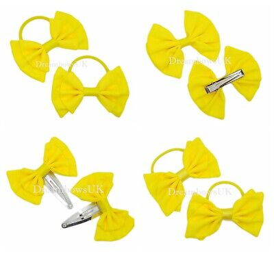 $ CDN4.33 • Buy Yellow Fabric Hair Accessories Choice Of Bobbles Or Clips Summer Yellow Hair Bow