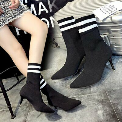 £13.95 • Buy Womens Boots High Heels Ladies Knit Socks Pointy Office Party Booties Shoes