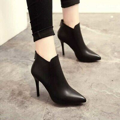 £12.95 • Buy Womens Ankle Boots High Heels Ladies Zip Up Pointy PU Office Party Booties Shoes