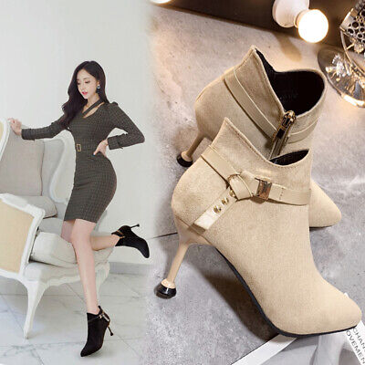 £12.95 • Buy Womens Ankle Boots Mid High Heels Ladies Zip Up Work Pointy Suede Booties Shoes