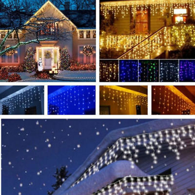 960LEDs Fairy String Light Hanging Icicle Snowing Curtain Light Xmas Party Decor • 15.99£