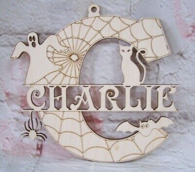 Personalised HALLOWEEN Letter  Monogram Wooden Plaque Craft Blank Varied Sizes • 3.32£